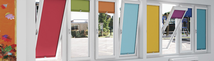 Colourful office blinds from Barnes Blinds in Stoke-on-Trent